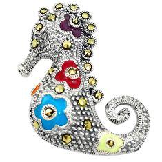 Fine marcasite enamel 925 sterling silver seahorse pendant jewelry c21859