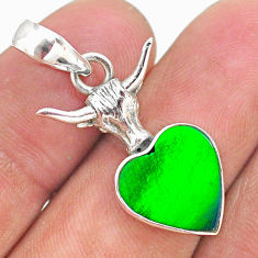 3.98cts fine northern lights aurora opal (lab) silver bull face pendant t34421