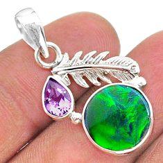 5.22cts fine northern lights aurora opal (lab) deltoid leaf pendant t34483