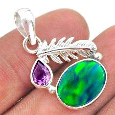 4.28cts fine northern lights aurora opal (lab) deltoid leaf pendant t34487