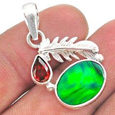 3.37cts fine northern lights aurora opal (lab) deltoid leaf pendant t34493