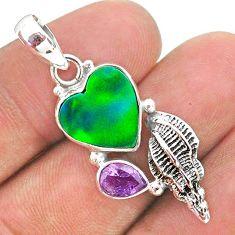 4.46cts fine northern lights aurora opal (lab) amethyst silver pendant t34402