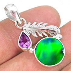 3.83cts fine northern lights aurora opal (lab) amethyst silver pendant t34431