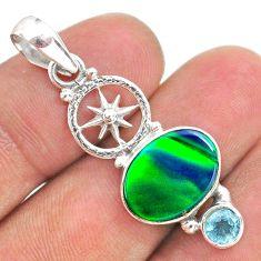 3.65cts fine northern lights aurora opal (lab) blue topaz silver pendant t34440