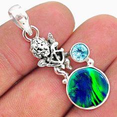 3.83cts fine northern lights aurora opal (lab) topaz silver angel pendant t34413