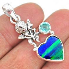 4.02cts fine northern lights aurora opal (lab) topaz silver angel pendant t34438