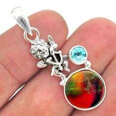 3.83cts fine volcano aurora opal (lab) silver cupid angel wings pendant t34490