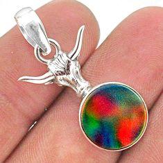 5.76cts fine volcano aurora opal (lab) 925 silver bull charm pendant t34481