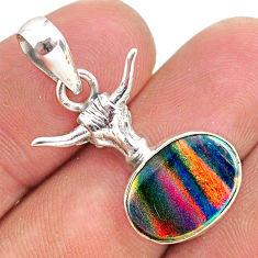 3.65cts fine volcano aurora opal (lab) 925 silver bull face pendant t34471