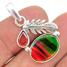 3.59cts fine volcano aurora opal (lab) red garnet silver feather pendant t34449