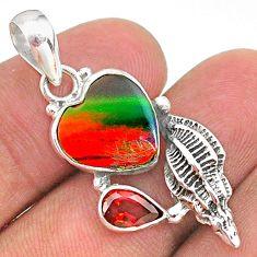 4.42cts fine volcano aurora opal (lab) red garnet 925 silver pendant t34445