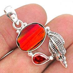 4.05cts fine volcano aurora opal (lab) red garnet 925 silver pendant t34454