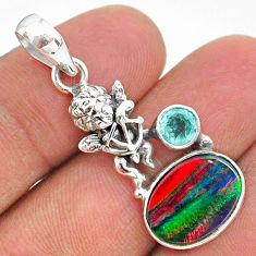 3.83cts fine volcano aurora opal (lab) topaz 925 silver angel pendant t34441