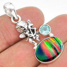 4.02cts fine volcano aurora opal (lab) topaz 925 silver angel pendant t34461