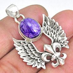 5.22cts fleur de lis wing charoite (siberian) 925 sterling silver pendant r90350
