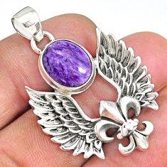 5.24cts fleur de lis wing charoite (siberian) 925 sterling silver pendant r90351