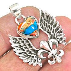 Fleur de lis wings spiny oyster arizona turquoise 925 silver pendant r90352