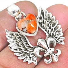 Fleur de lis wings spiny oyster arizona turquoise 925 silver pendant r90353