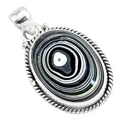 9.22cts fordite detroit agate 925 sterling silver handmade pendant r92740