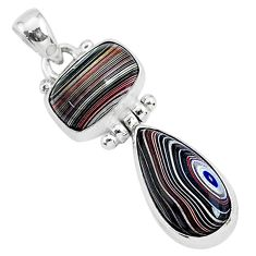 7.97cts fordite detroit agate 925 sterling silver handmade pendant r92841