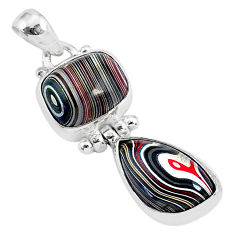 3.80cts fordite detroit agate 925 sterling silver handmade pendant r92843