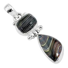 7.13cts fordite detroit agate 925 sterling silver handmade pendant r92846