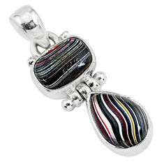 5.17cts fordite detroit agate 925 sterling silver handmade pendant r92857