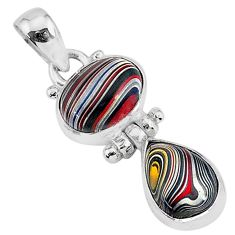 5.87cts fordite detroit agate 925 sterling silver handmade pendant r92868