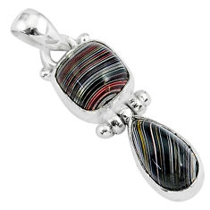 6.19cts fordite detroit agate 925 sterling silver handmade pendant r92879