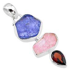 11.74cts garnet tanzanite rose quartz raw 925 silver pendant t10814