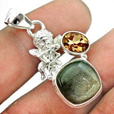 8.38cts golden sheen black obsidian smoky topaz 925 silver angel pendant t55470