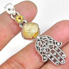 6.19cts golden tourmaline rutile 925 silver hand of god hamsa pendant r90340