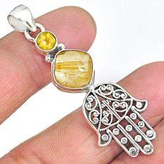 6.45cts golden tourmaline rutile 925 silver hand of god hamsa pendant r90341