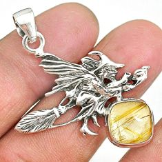5.48cts golden tourmaline rutile silver pentacle witches broom pendant r90441