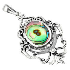 4.72cts green abalone paua seashell 925 sterling silver pendant a91871 c14759