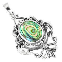 4.40cts green abalone paua seashell 925 sterling silver pendant a91872 c14750