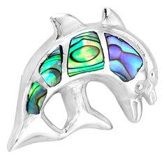 Green abalone paua seashell enamel 925 silver dolphin pendant a38510 c14728