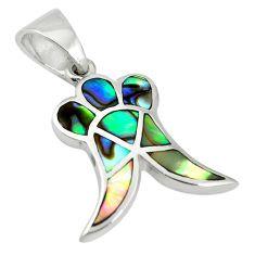Green abalone paua seashell enamel 925 silver pendant jewelry a85449 c14718