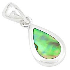 Green abalone paua seashell enamel 925 sterling silver pendant a77594 c14529