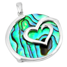 14.06cts green abalone paua seashell round silver heart pendant a88675 c14598