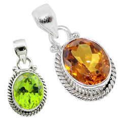 5.10cts green alexandrite (lab) 925 sterling silver pendant jewelry t57097
