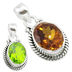 5.38cts green alexandrite (lab) 925 sterling silver pendant jewelry t57122