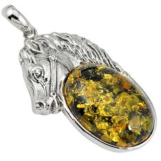 Green amber from colombia 925 sterling silver horse pendant jewelry c22593