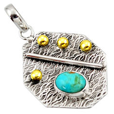 3.13cts green arizona mohave turquoise 925 silver 14k gold pendant r37173