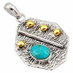 3.09cts green arizona mohave turquoise 925 silver 14k gold pendant r37175
