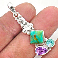6.85cts green arizona mohave turquoise 925 silver buddha charm pendant t38401