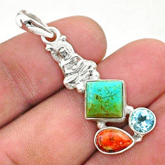 7.24cts green arizona mohave turquoise 925 silver buddha charm pendant t38403