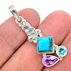 7.24cts green arizona mohave turquoise 925 silver buddha charm pendant t38405