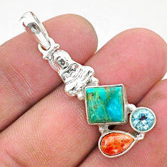 7.00cts green arizona mohave turquoise 925 silver buddha charm pendant t38408
