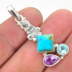 6.61cts green arizona mohave turquoise 925 silver buddha charm pendant t38410